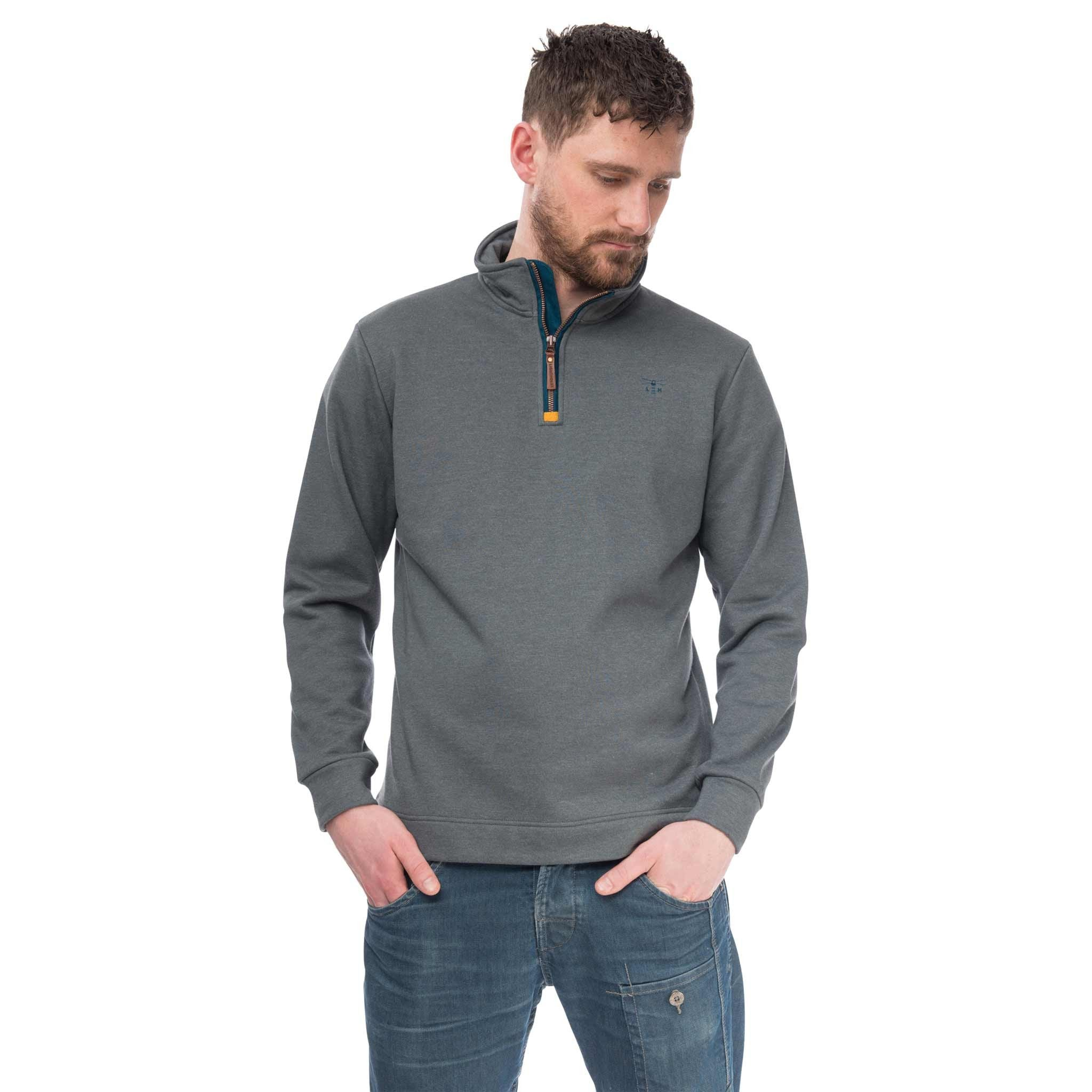 Seafarer Mens Half Zip Sweater in Grey Marl, Modelled Front View | Lighthouse