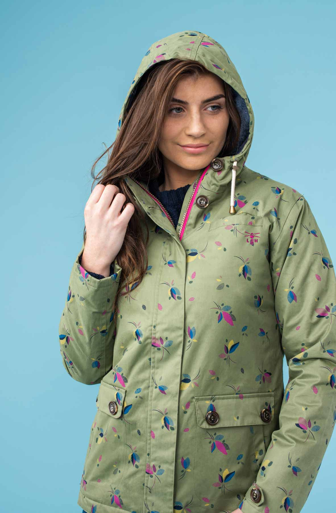 Siena Waterproof Hooded Jacket - Fern Leaf Print
