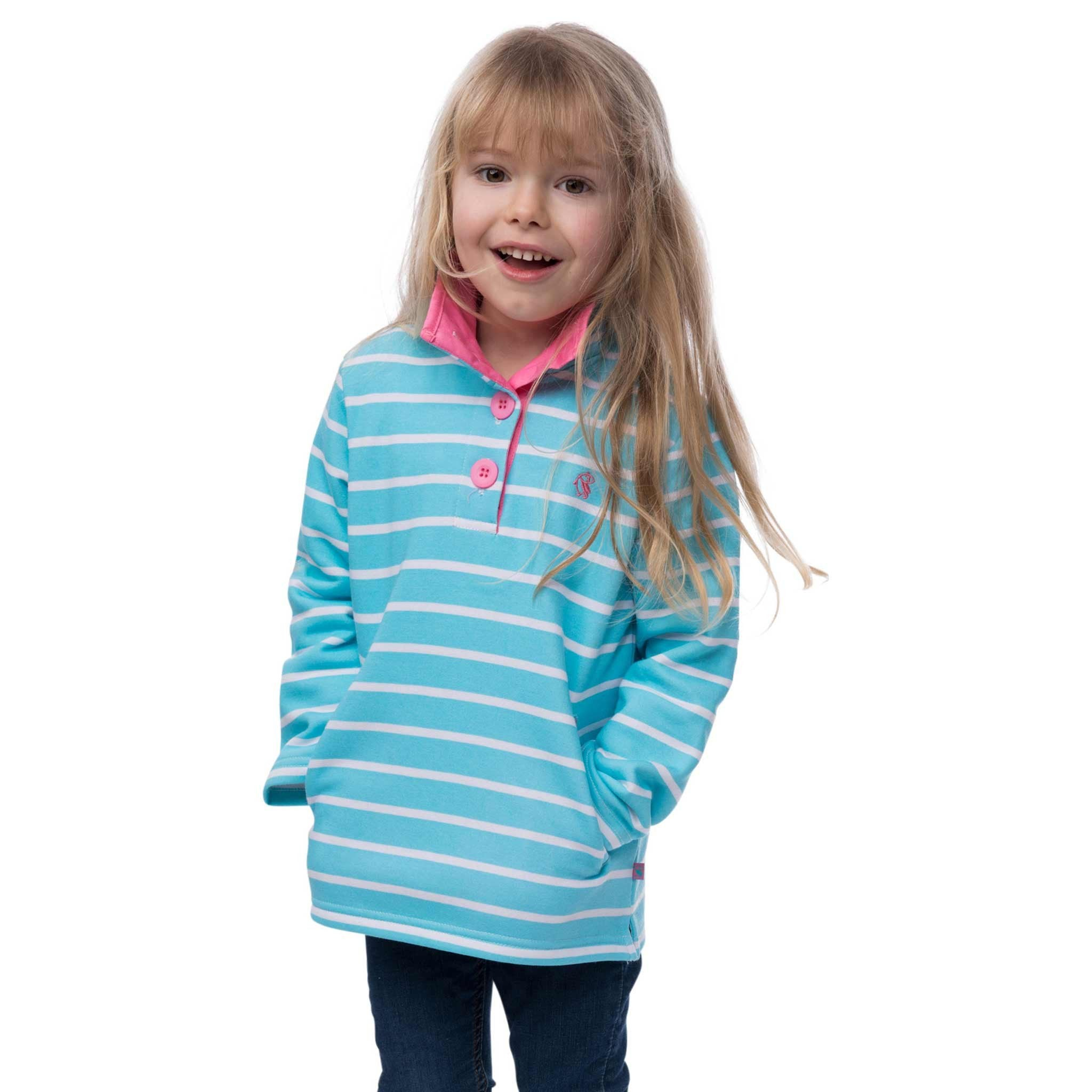 Pearl Girls Half Button Sweatshirt, in Aqua Stripe, Modelled Front View | Lighthouse