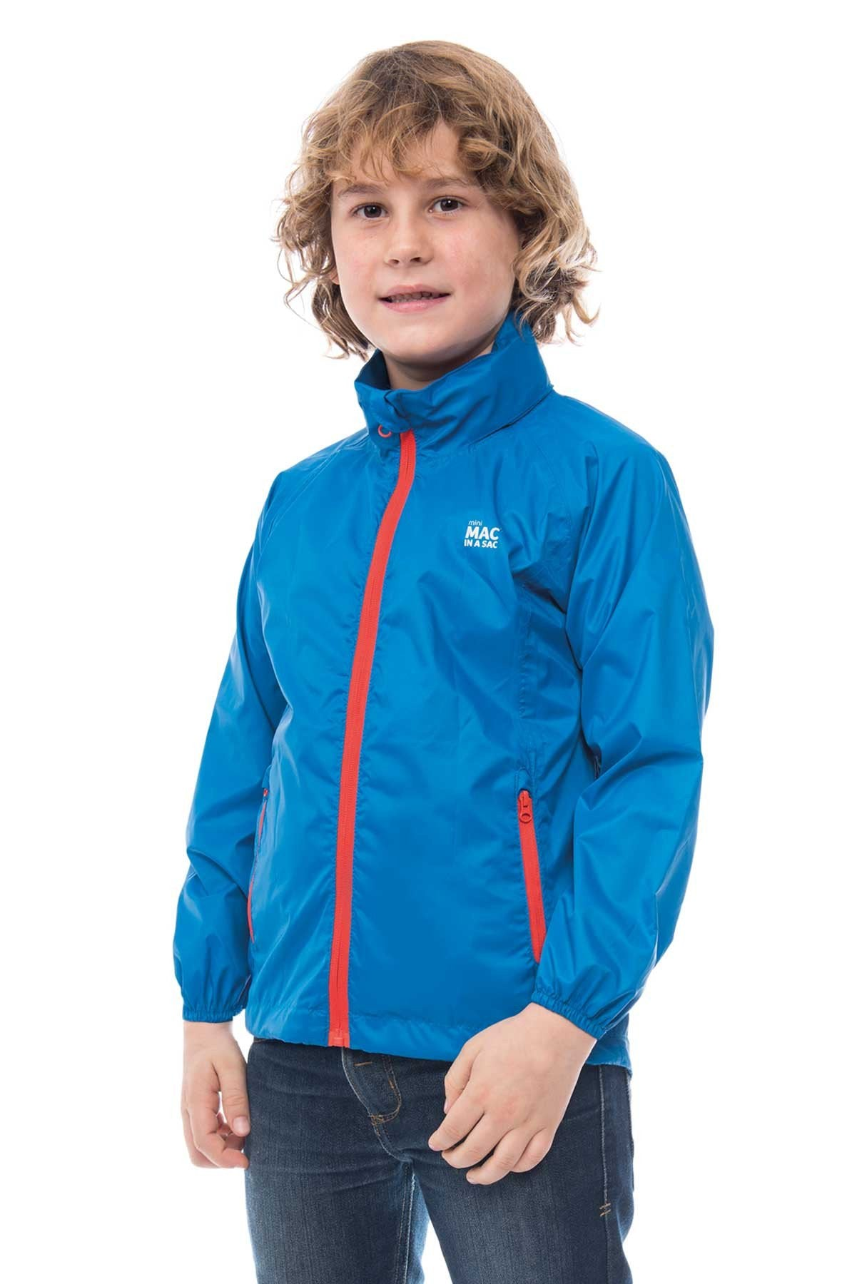 Kids Packable Waterproof Jacket - Blue