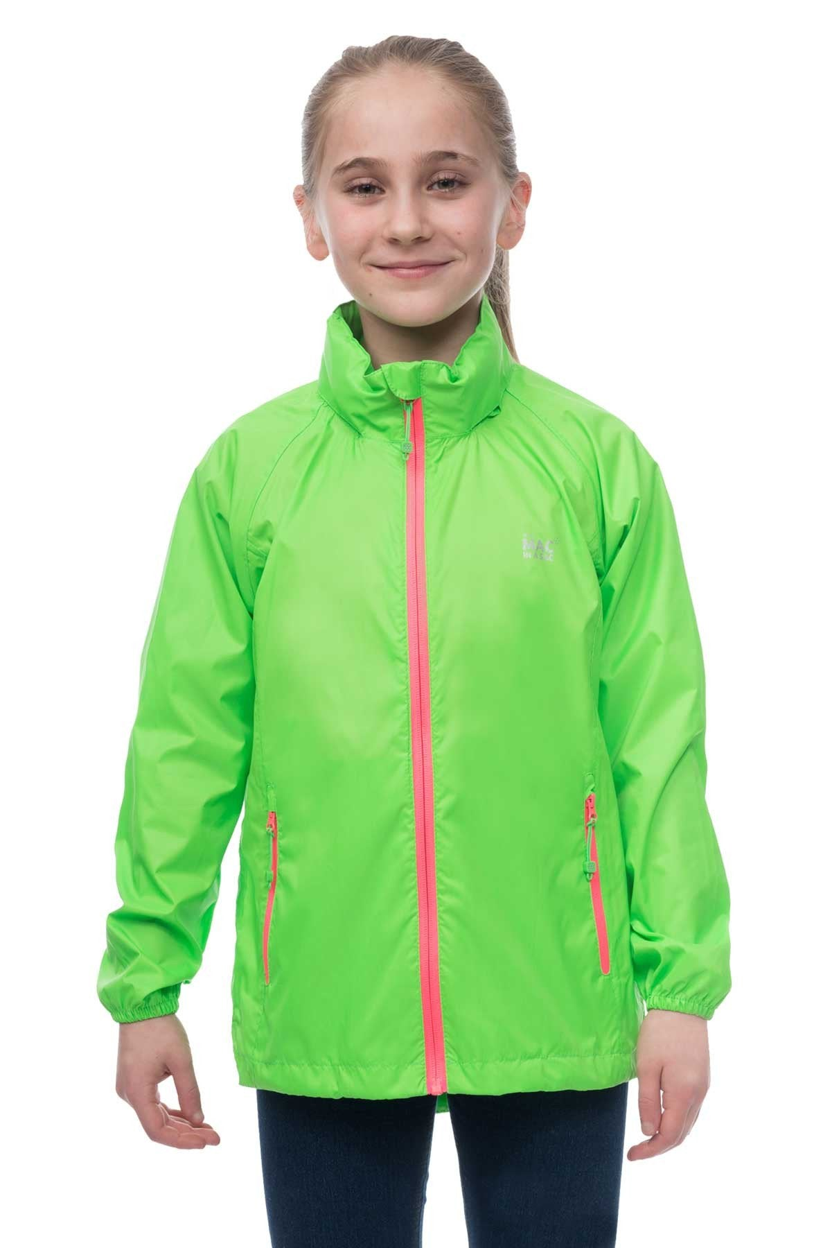 Kids Packable Waterproof Jacket - Neon Green