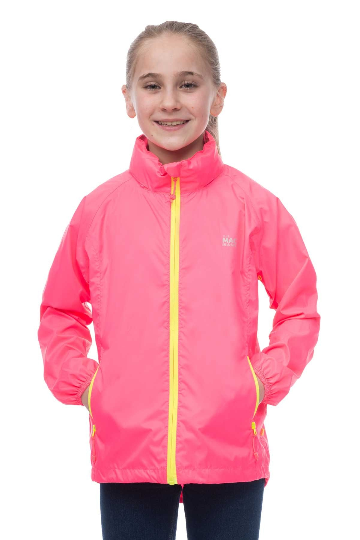 Kids Packable Waterproof Jacket - Neon Pink