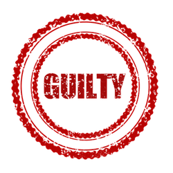 the word guilty within a red circle