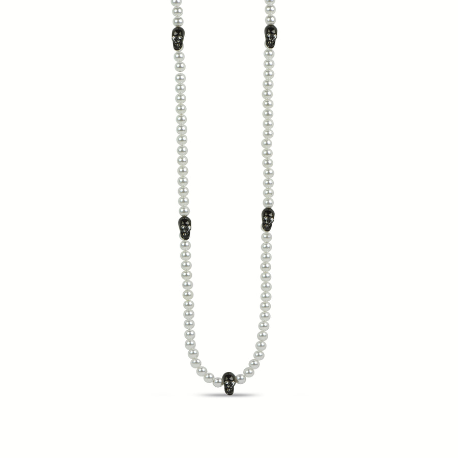 Edge Pearl Skull Necklace