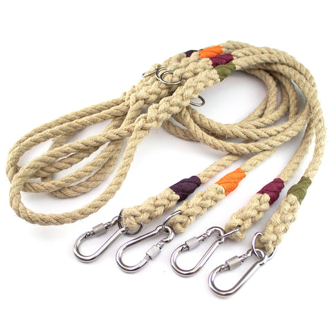 Four hemp rope leads with carabiners