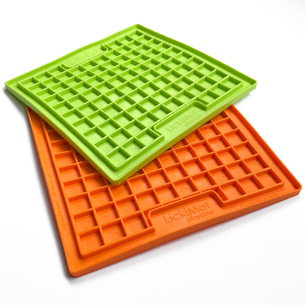 Lickimat lick mat for dogs in green and orange