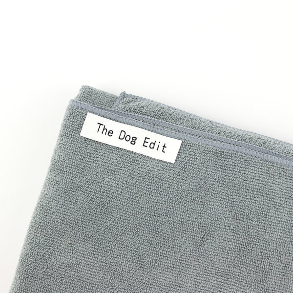 Grey microfibre dog towel with The Dog Edit logo