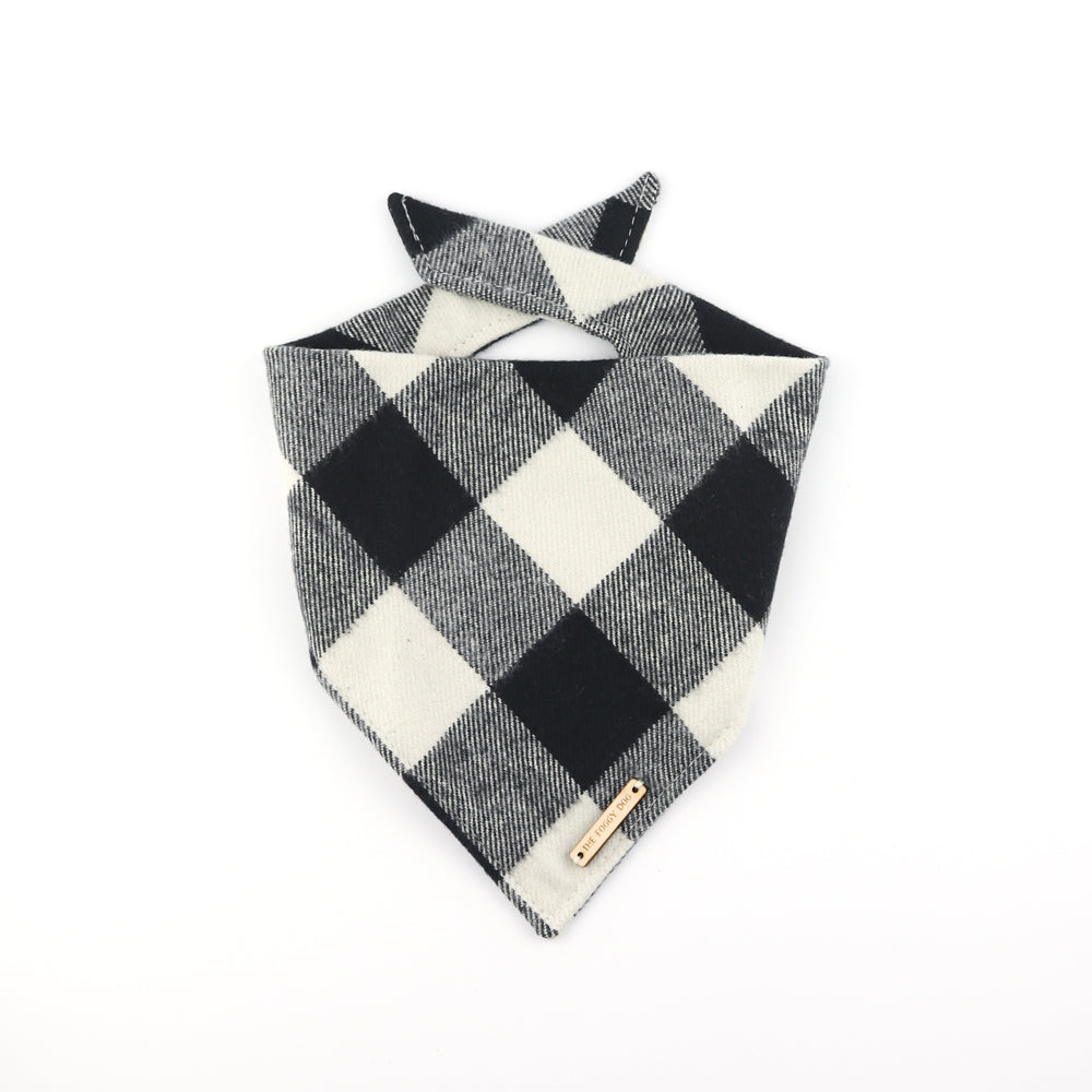 Black and white check flannel dog bandana