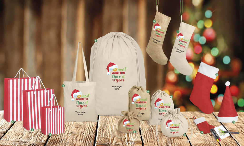 Festive Season promo goods. Christmas products. Christmas Corporate gifts. Stocking. Branded stocking. Christmas shopper. Jute bag