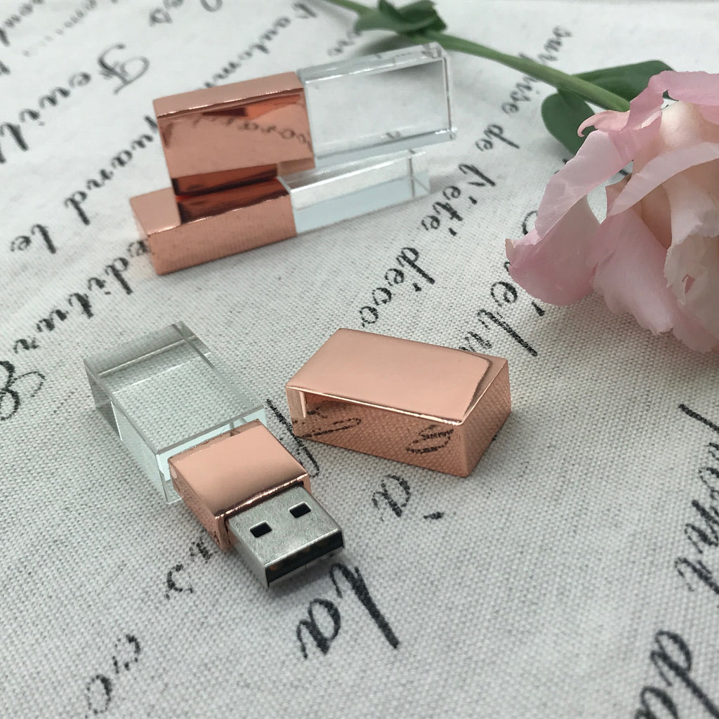 Crystal usb with rose gold lid