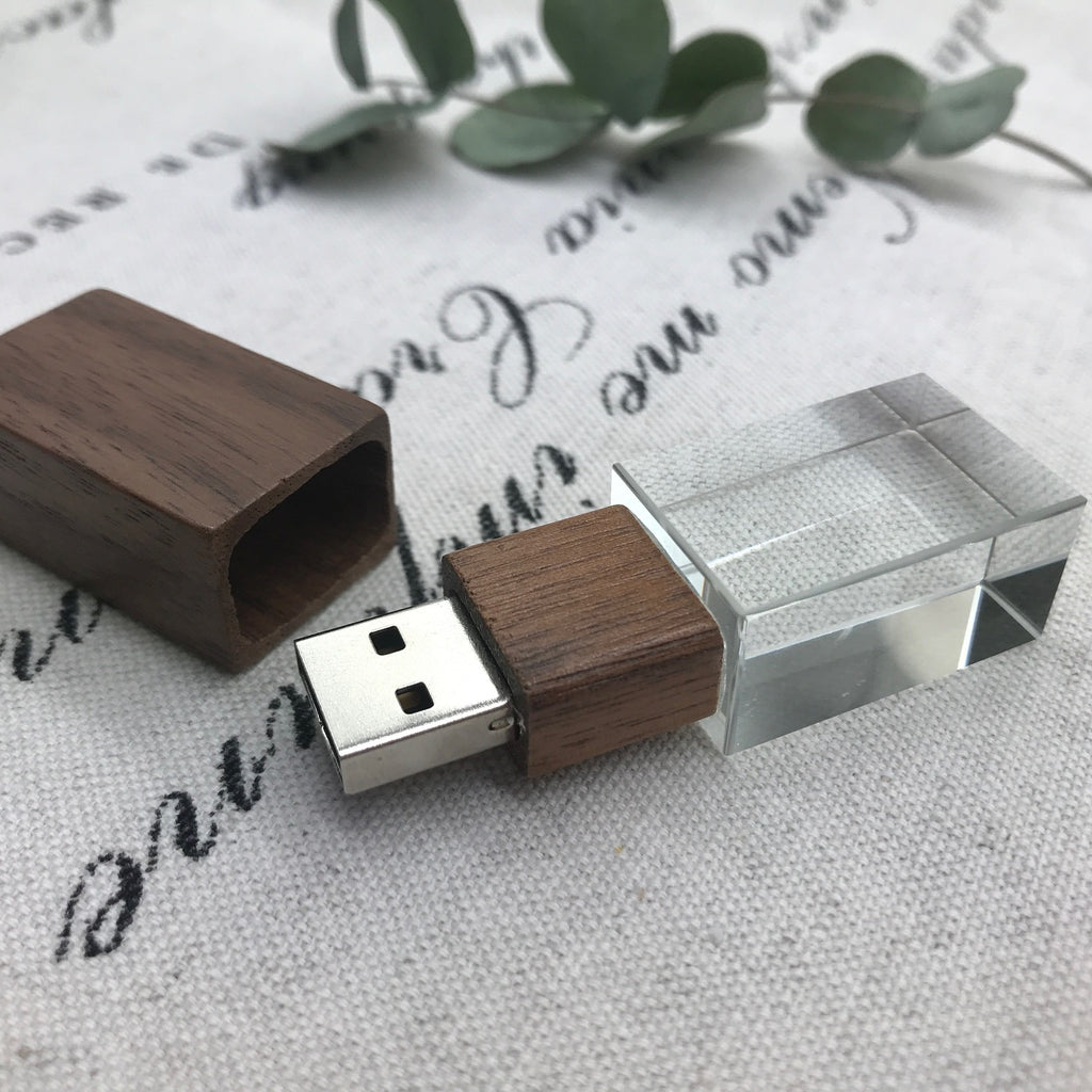Walnut Wooden Crystal USB