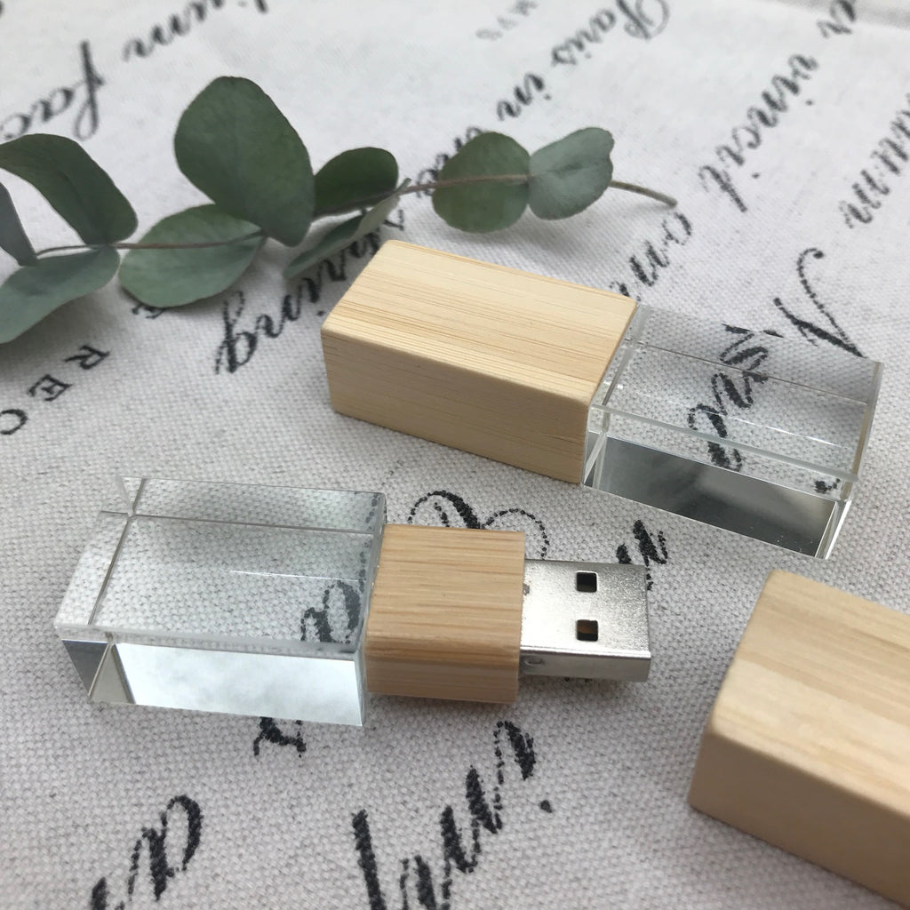 Bamboo Crystal USB - Also Available - Walnut & Maple Crystal USB's
