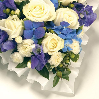 Candice - Funeral Flowered Heart in Blue and White