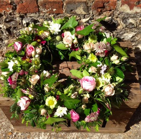 Purdey - Pink Roses Summer Funeral Wreath.