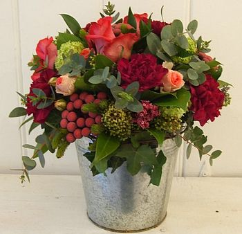 Elne - Zinc Bucket of Red Christmas Flowers and berries.