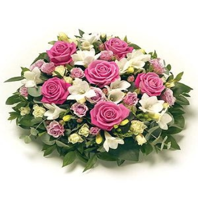 Funeral Posy - Pink Rose & White Freesia
