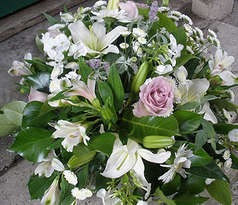 Funeral Posy Pad of Country Flowers
