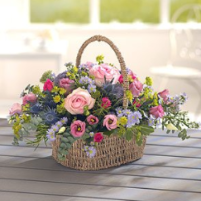 Kingsclere Basket - Pink/Lilac Flowers.