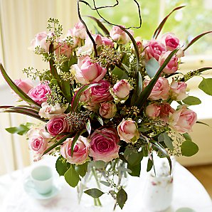 Lana - Bouquet - Pink Ava Roses, Spray Roses and Foliage.