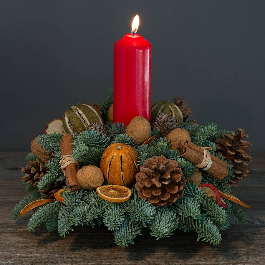 Nimes- Christmas Table Centre Fresh Pine Base, candle.
