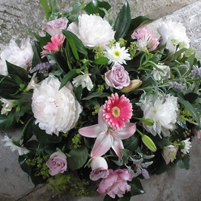 Paloma - Peony, Rose and Lily Posy with garden foliages