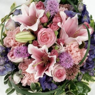 Rosie - Funeral Flowers Pink Lily & Lilac Freesia Posy