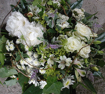 Summer Flower Loose Country Style Posy With White Peonies Blooms