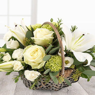 Bramdean -  White Rose Basket Arrangement