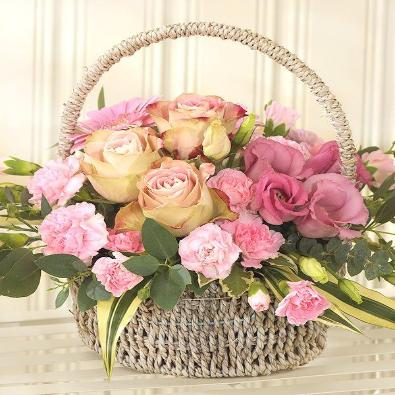 Holt - Basket of Pink Flowers