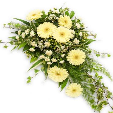 Lucie - Single Ended Funeral Spray - Cream and Lemon Blooms