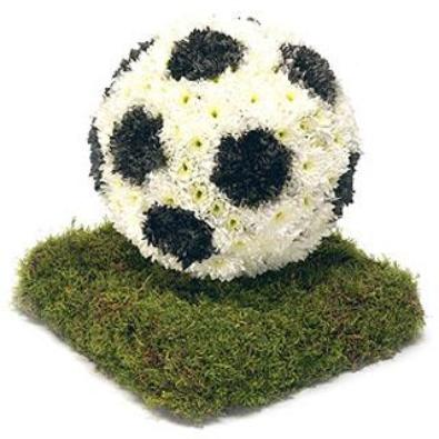 Football on a pitch - Funeral Flowers