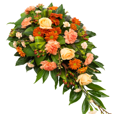 Olivia - Single Ended Funeral Spray - Orange & Peach