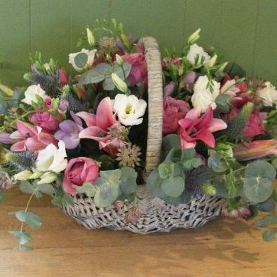 Cheriton - Rose and Lily Funeral Basket