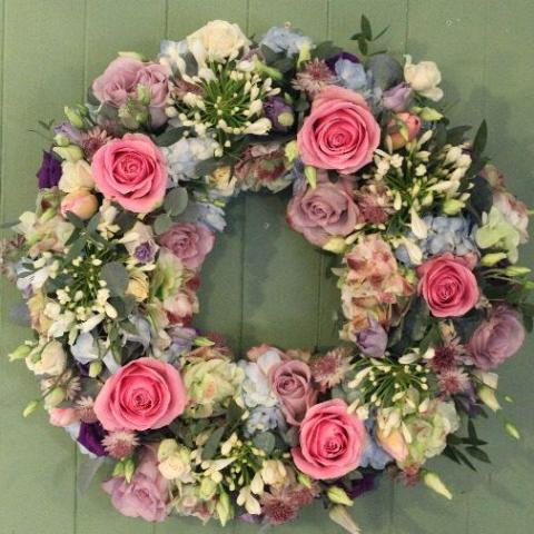 Villie - Country Style - Funeral Wreath in soft pinks / creams.