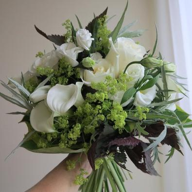 Bernice - Bouquet of White Roses and  Calla Lily