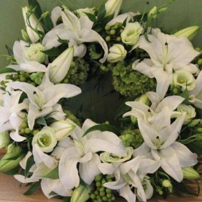 Chilbolton Funeral Wreath - White Roses & Lily