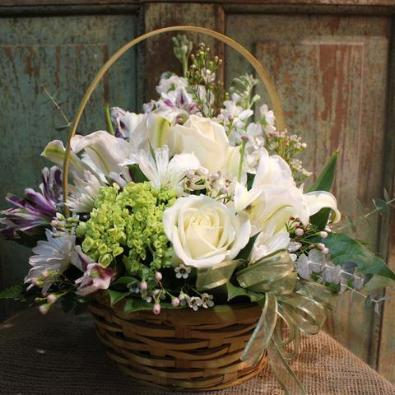 Candover White Basket of Flowers.