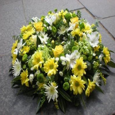Funeral Posy - Yellow and White Flowers.