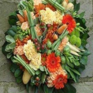 Amport - Orange & Lime Gardeners  Funeral Wreath