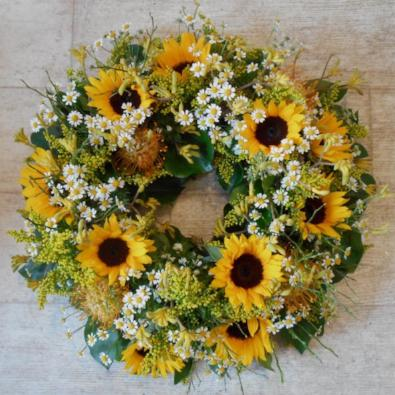 Augusta - Sunflower Funeral Wreath
