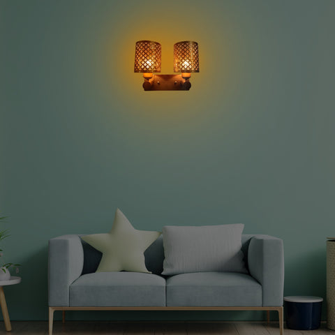 Brass Weaving Double Wall Light India