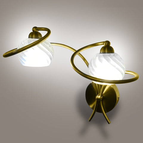 Buy Brass Swirl Double Led Wall Light