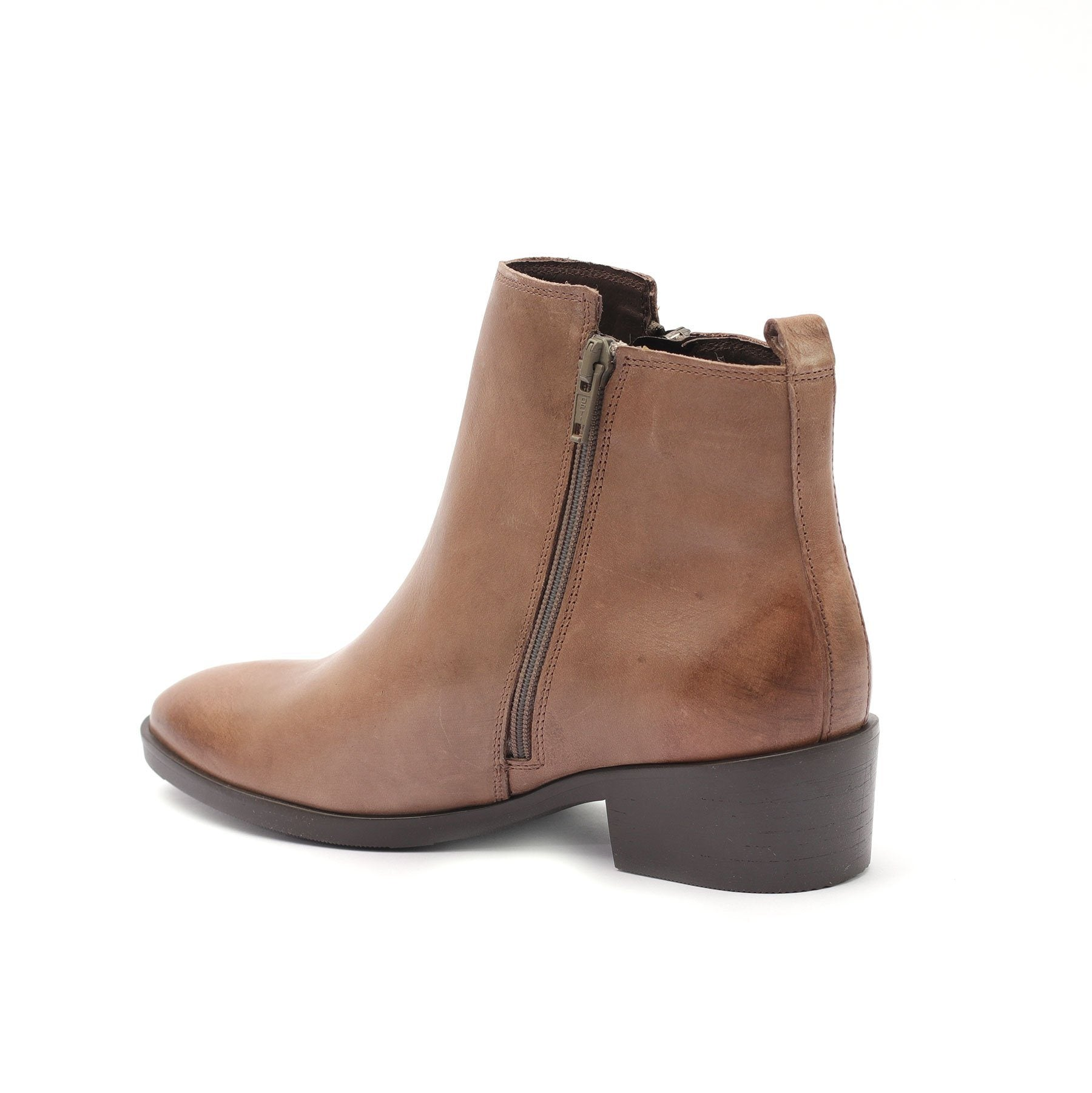 Botine piele naturala, dama - 341 bej  box - Clasicor Outlet