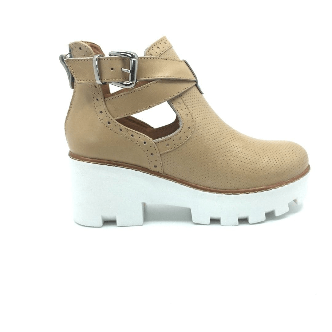 Botine casual din piele naturala, dama - 411-2 Taupe box - Clasicor Outlet
