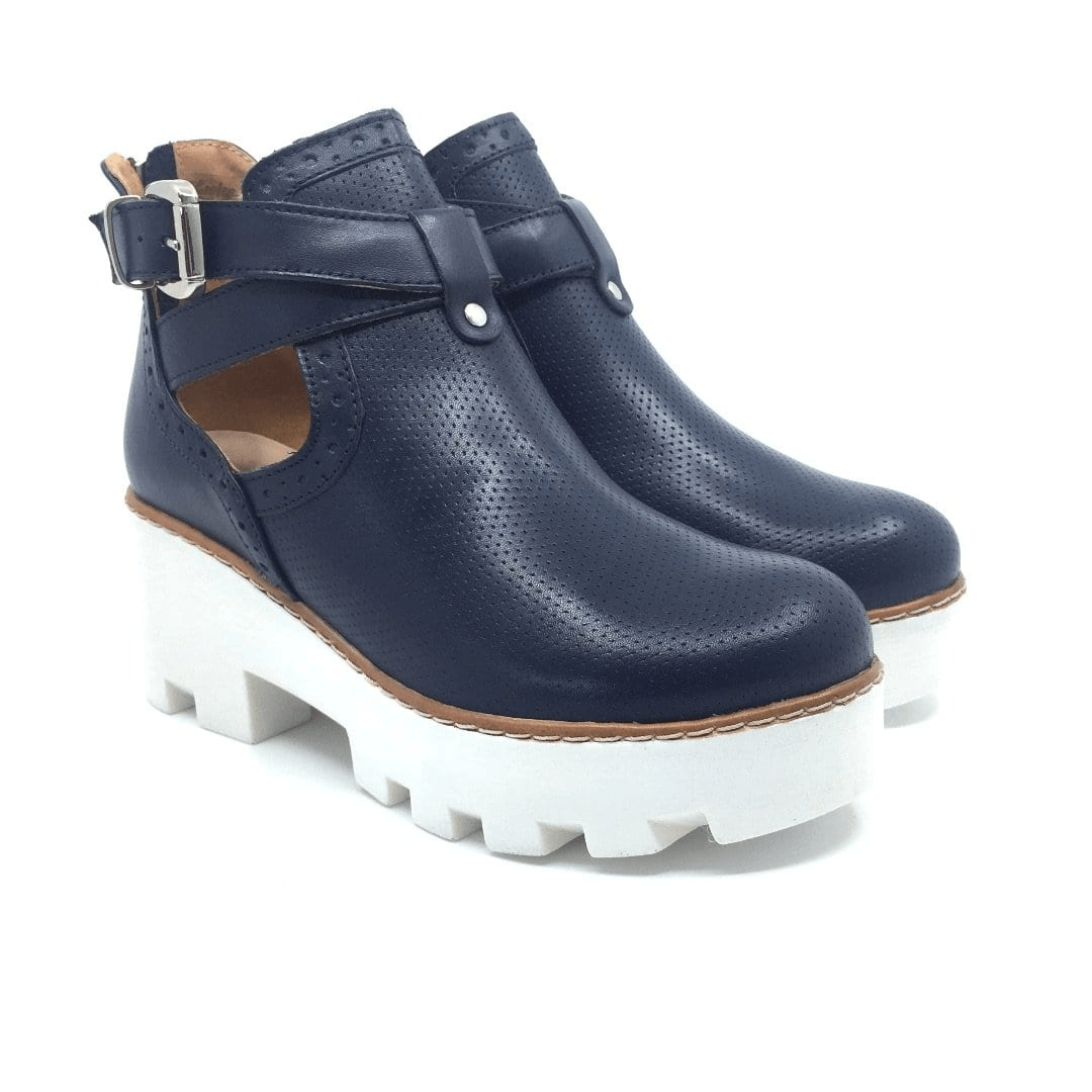 Botine casual din piele naturala, dama - 411-2 Blue box - Clasicor Outlet