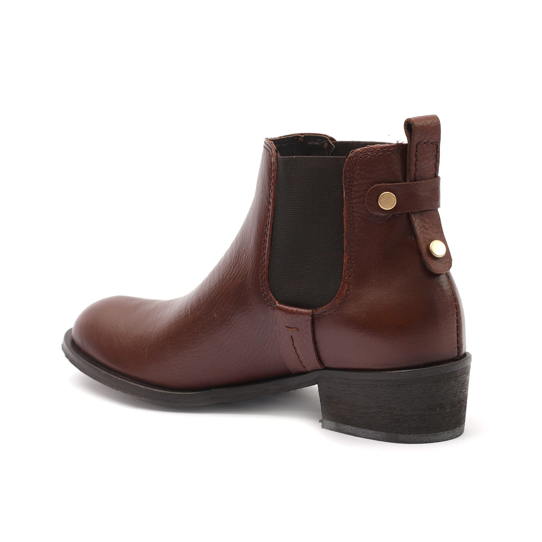 Botine piele naturala, dama - 340 maro  box - Clasicor Outlet