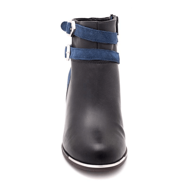 Botine piele naturala, dama – 462 blue box velur - Clasicor Outlet