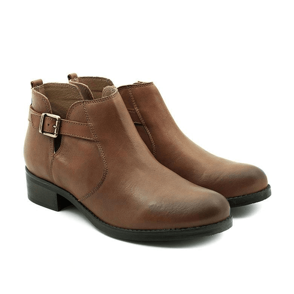 Botine din piele naturala box, dama - 418 cognac box - Clasicor Outlet
