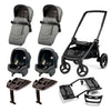 Travel System Doble Team Peg-Pérego 2 Seggiolino + 2 Silla Nido + 2 base + Adap. Doble
