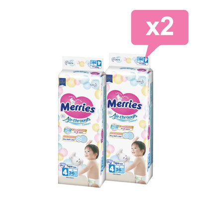 Pack x2 Pañales desechables Merries con velcro - Merries-MiniNuts